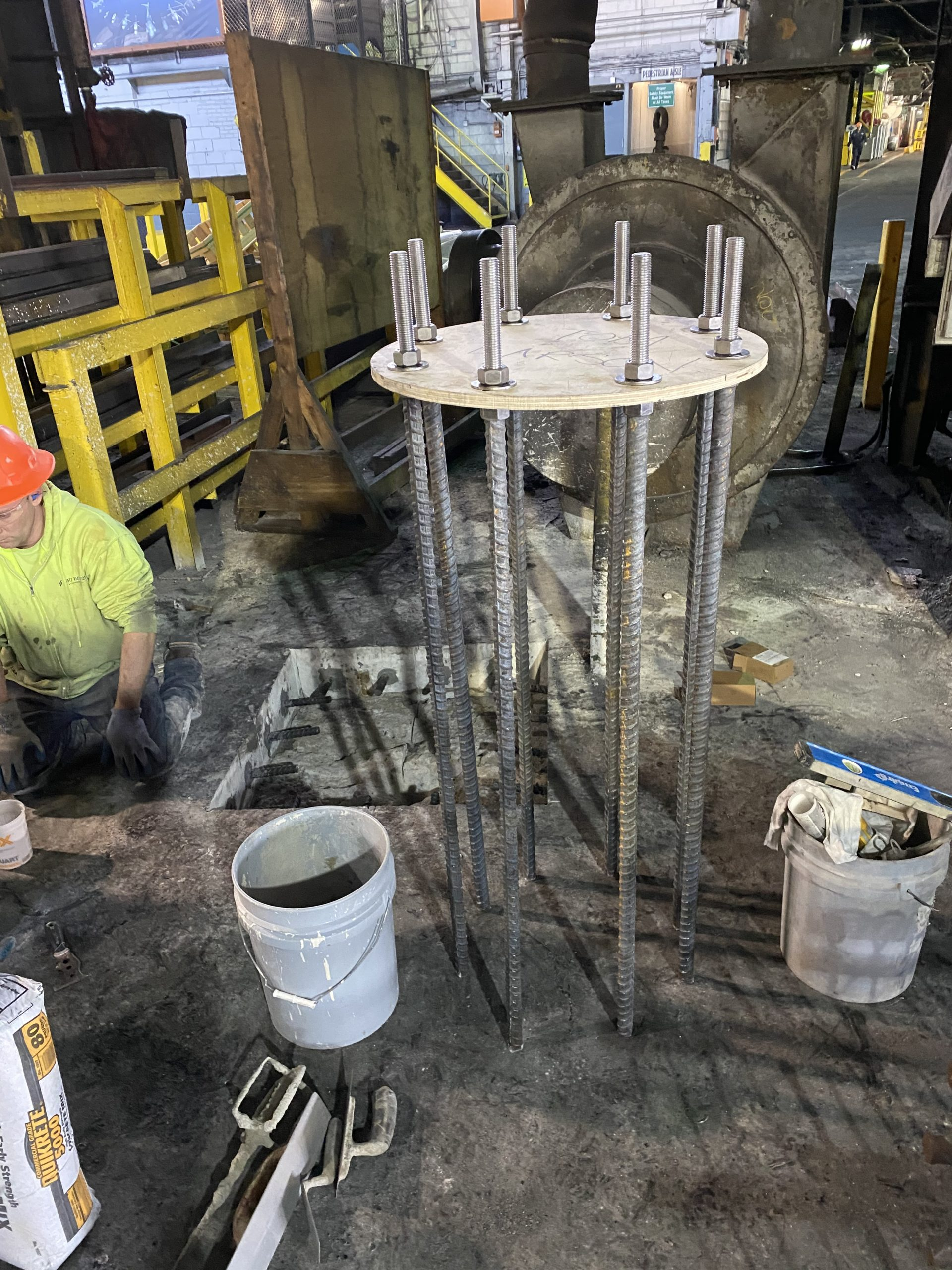 """48"""" Long Anchor Bolts Installed for Crane Base (Structural Repairs)"""